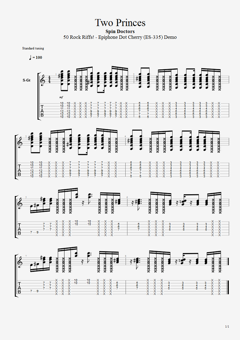 Spin Doctors Two Princes Bluesmannus Guitar Tabs